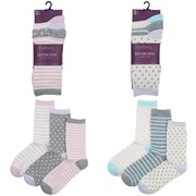 Ladies 3pack Cotton Design Socks (size Uk4-7) (SK512)